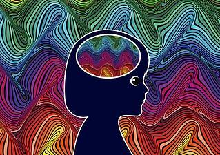 Rainbow Brain Girl Illustration