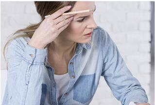 Woman Trying to Concentrate
