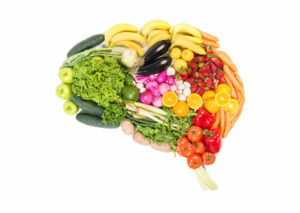 Colorful Healthy Food in Shape of a Brain